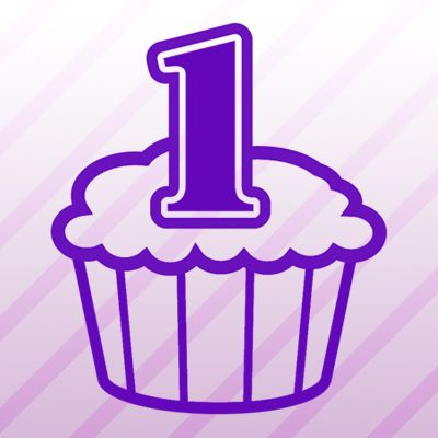 Number 1 Cupcake Iron on Transfer