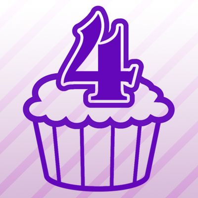 Number 4 Cupcake Iron on Transfer