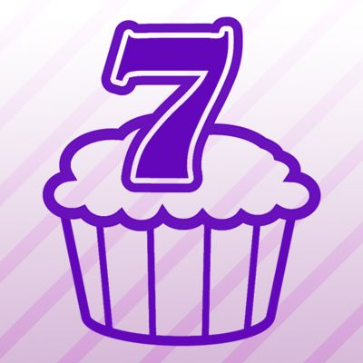 Number 7 Cupcake Iron on Transfer