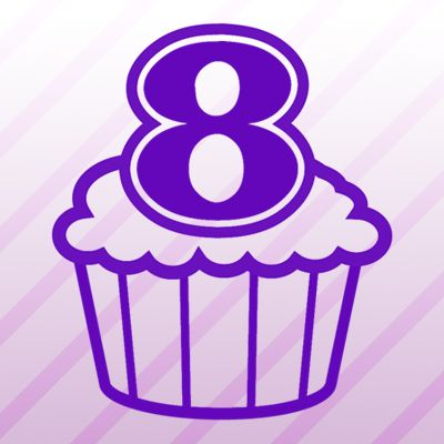 Number 8 Cupcake Iron on Transfer
