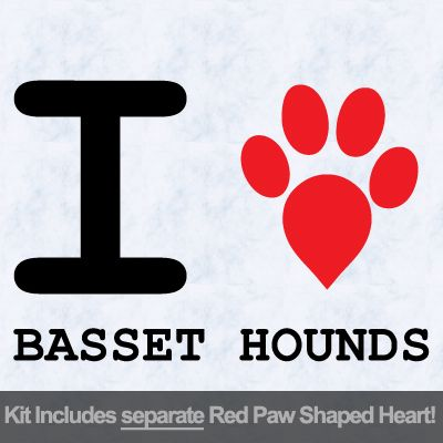 I Love Basset Hounds with Red Paw Heart Iron on Transfer
