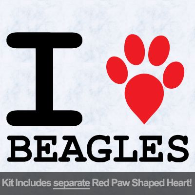 I Love Beagles with Red Paw Heart Iron on Transfer