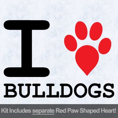 I Love Bulldogs with Red Paw Heart Iron on Transfer