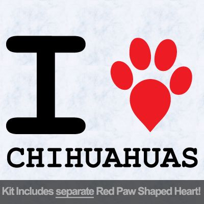 I Love Chihuahuas with Red Paw Heart Iron on Transfer