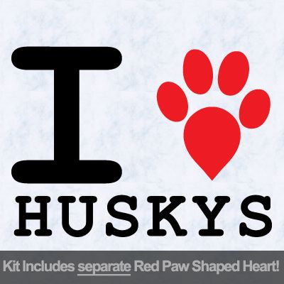 I Love Huskys with Red Paw Heart Iron on Transfer