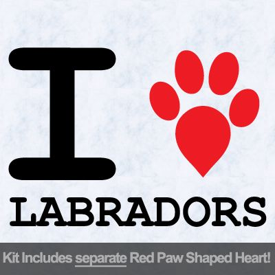I Love Labradors with Red Paw Heart Iron on Transfer