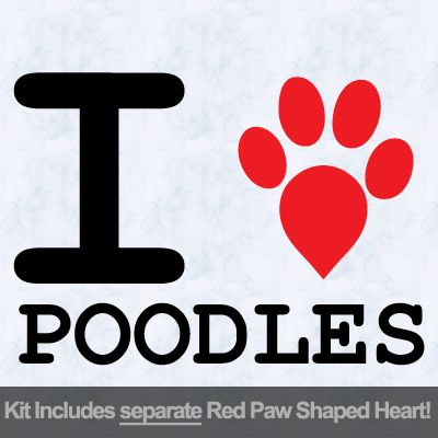 I Love Poodles with Red Paw Heart Iron on Transfer