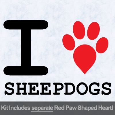 I Love Sheep Dogs with Red Paw Heart Iron on Transfer