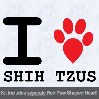 I Love Shih Tzus with Red Paw Heart Iron on Transfer