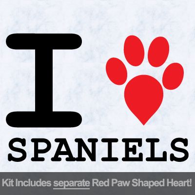 I Love Spaniels with Red Paw Heart Iron on Transfer
