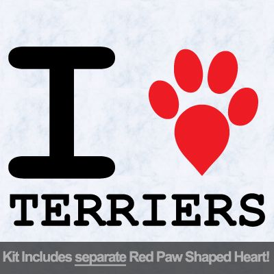I Love Terriers with Red Paw Heart Iron on Transfer