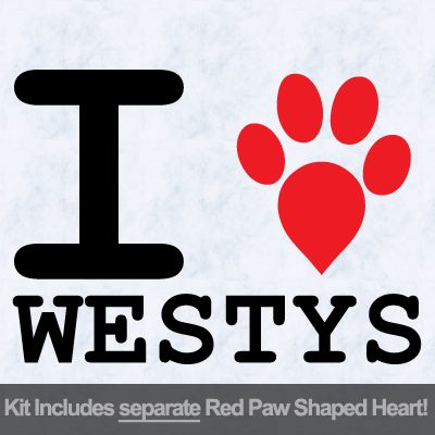 I Love Westys with Red Paw Heart Iron on Transfer