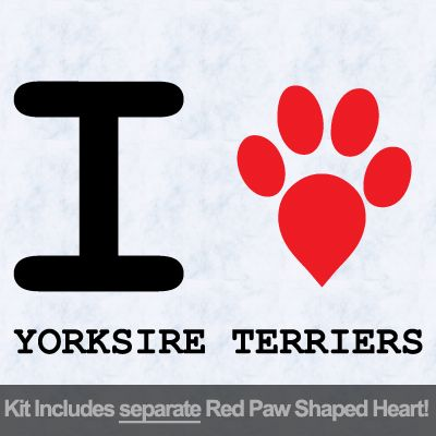 I Love Yorkshire Terriers with Red Paw Heart Iron on Transfer