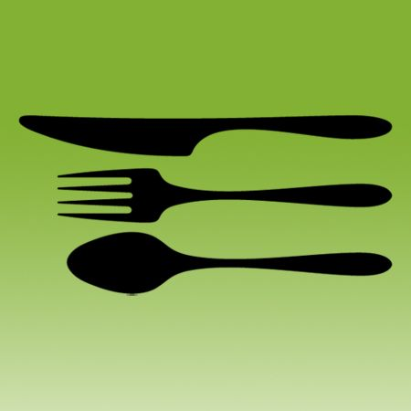 Cutlery Set Knife Spoon and Fork on Transfer