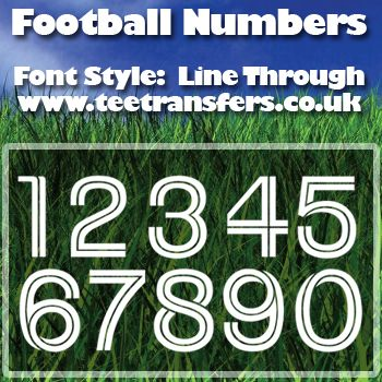 Single Football Numbers Line Through Font Iron on Transfer