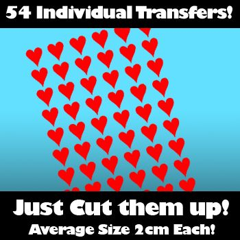Multi Pack of 54 Iron on Love Heart Transfers