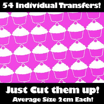 Multi Pack of 54 Iron on Cupcake Transfers