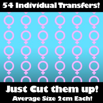 Multi Pack of 54 Iron on Female Sex Symbol Transfers