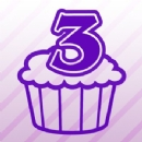 Number 3 Cupcake Iron on Transfer