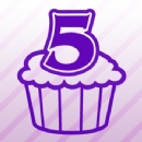 Number 5 Cupcake Iron on Transfer
