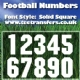 Single Football Numbers Solid Square Font Iron on Transfer