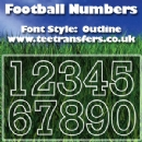Single Football Numbers Outline Font Iron on Transfer