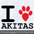 I Love Akitas with Red Paw Heart Iron on Transfer