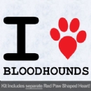 I Love Bloodhounds with Red Paw Heart Iron on Transfer