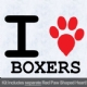 I Love Boxers with Red Paw Heart Iron on Transfer