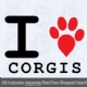 I Love Corgis with Red Paw Heart Iron on Transfer