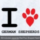 I Love German Shepherds with Red Paw Heart Iron on Transfer