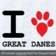 I Love Great Danes with Red Paw Heart Iron on Transfer