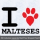 I Love Malteses with Red Paw Heart Iron on Transfer