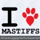 I Love Mastiffs with Red Paw Heart Iron on Transfer