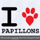 I Love Papillions with Red Paw Heart Iron on Transfer