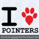 I Love Pointers with Red Paw Heart Iron on Transfer