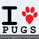 I Love Pugs with Red Paw Heart Iron on Transfer