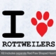 I Love Rottweilers with Red Paw Heart Iron on Transfer