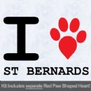 I Love St Bernards with Red Paw Heart Iron on Transfer