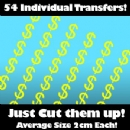 Multi Pack of 54 Iron on Dollar Sign Transfers
