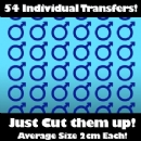Multi Pack of 54 Iron on Male Sex Symbol Transfers