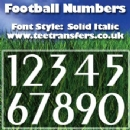 Single Football Numbers Solid Italic Font Iron on Transfer
