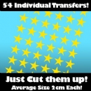 Multi Pack of 54 Iron on Star Transfers