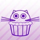 Kitty Cat Cupcake Iron on Transfer