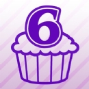 Number 6 Cupcake Iron on Transfer
