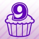 Number 9 Cupcake Iron on Transfer