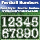 Single Football Numbers Double Outline Font Iron on Transfer