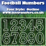 Football Numbers Outline Font Iron on Transfer