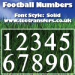 Football Numbers Solid Font Iron on Transfer
