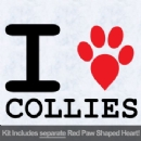 I Love Collies with Red Paw Heart Iron on Transfer